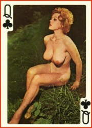 Erotic playing cards, queen of clubs.